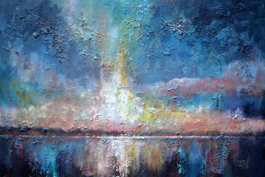 Original art for sale at UGallery.com | Lake Sunrise by KIP DECKER | $1,100 |  | 24' h x 36' w | ..\art\acrylic-painting-Lake-Sunrise