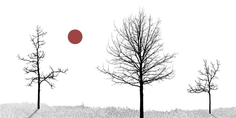 Original art for sale at UGallery.com | Trio and One Red Sun by Daniel Deters | $25 | photography | 20' h x 10' w | ..\art\photography-Trio-and-One-Red-Sun