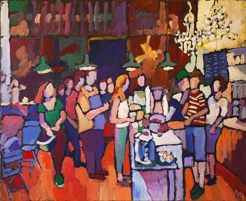 Original art for sale at UGallery.com | At the Coffee Bar by ROBERT HOFHERR | $925 |  | 22' h x 28' w | ..\art\acrylic-painting-At-the-Coffee-Bar