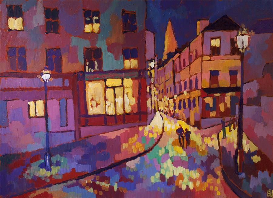 Original art for sale at UGallery.com | Evening Stroll by ROBERT HOFHERR | $1,250 |  | 24' h x 36' w | ..\art\acrylic-painting-Evening-Stroll