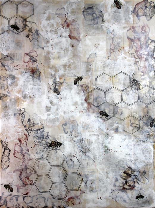Original art for sale at UGallery.com | Hidden Moments by SHANNON AMIDON | $3,100 |  | 48' h x 36' w | ..\art\encaustic-artwork-Hidden-Moments