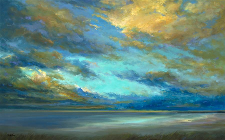 Original art for sale at UGallery.com | Coastal Clouds 34 by SHEILA FINCH | $5,400 |  | 30' h x 48' w | ..\art\oil-painting-Coastal-Clouds-34