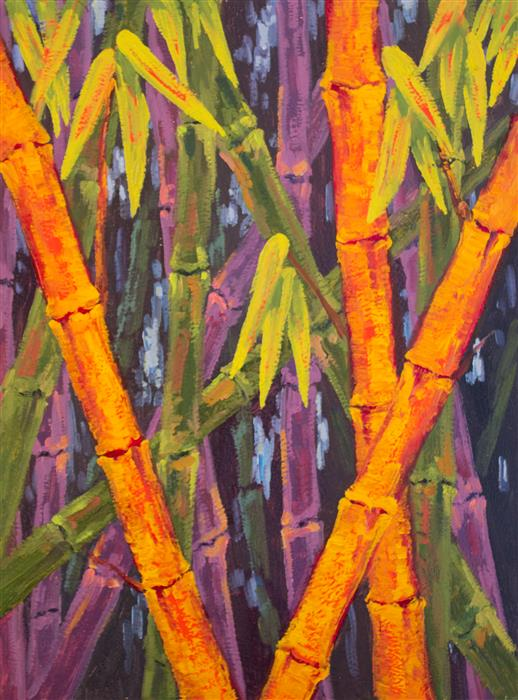 Original art for sale at UGallery.com | Bamboo Thicket L by KAREN E LEWIS | $1,075 |  | 24' h x 18' w | ..\art\oil-painting-Bamboo-Thicket-L