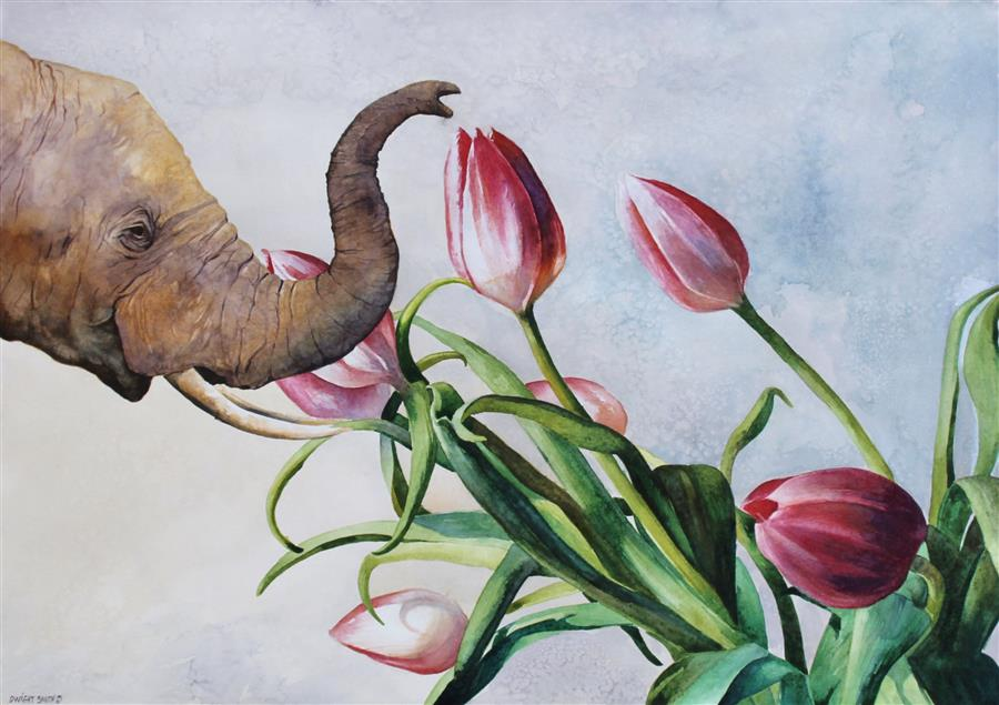 Original art for sale at UGallery.com | What do Elephants Dream? by DWIGHT SMITH | $700 |  | 14' h x 20' w | ..\art\watercolor-painting-What-do-Elephants-Dream