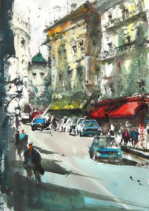 Original art for sale at UGallery.com | Napoli Shopping Avenue by MAXIMILIAN DAMICO | $700 |  | 11.5' h x 8.5' w | ..\art\watercolor-painting-Napoli-Shopping-Avenue