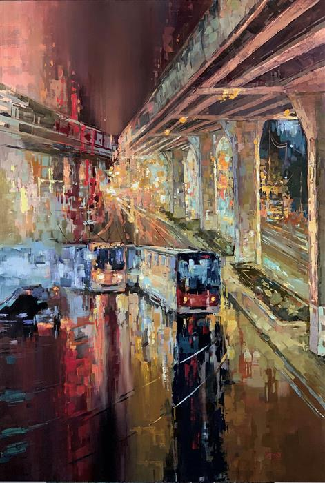 Original art for sale at UGallery.com | Vanishing Point by Sandra Zekk | $1,900 | oil painting | 48' h x 32' w | ..\art\oil-painting-Vanishing-Point