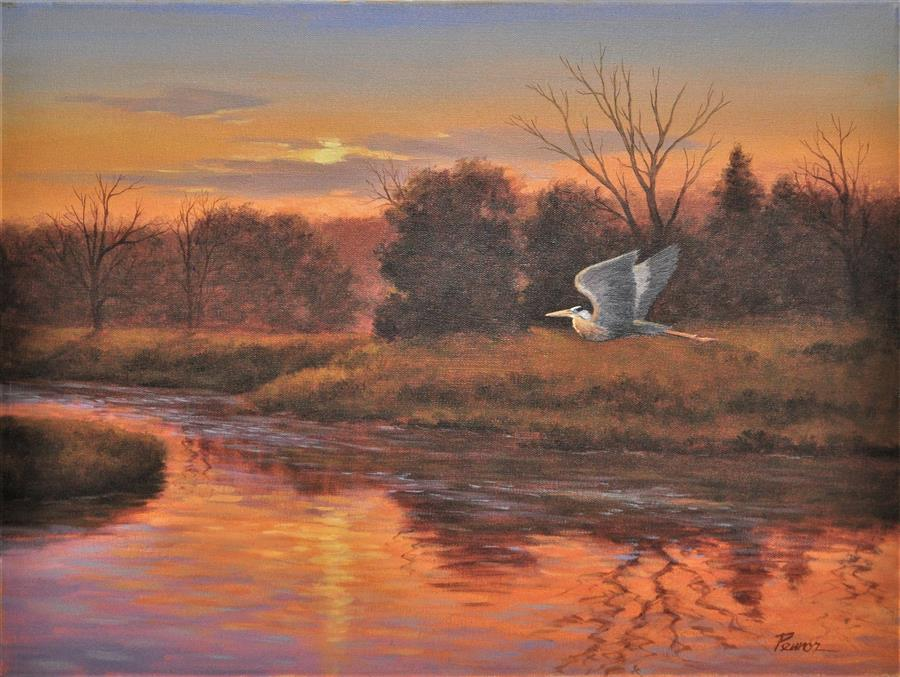 Original art for sale at UGallery.com | Sunset On The River by ROBERT PENNOR | $1,225 |  | 18' h x 24' w | ..\art\oil-painting-Sunset-On-The-River