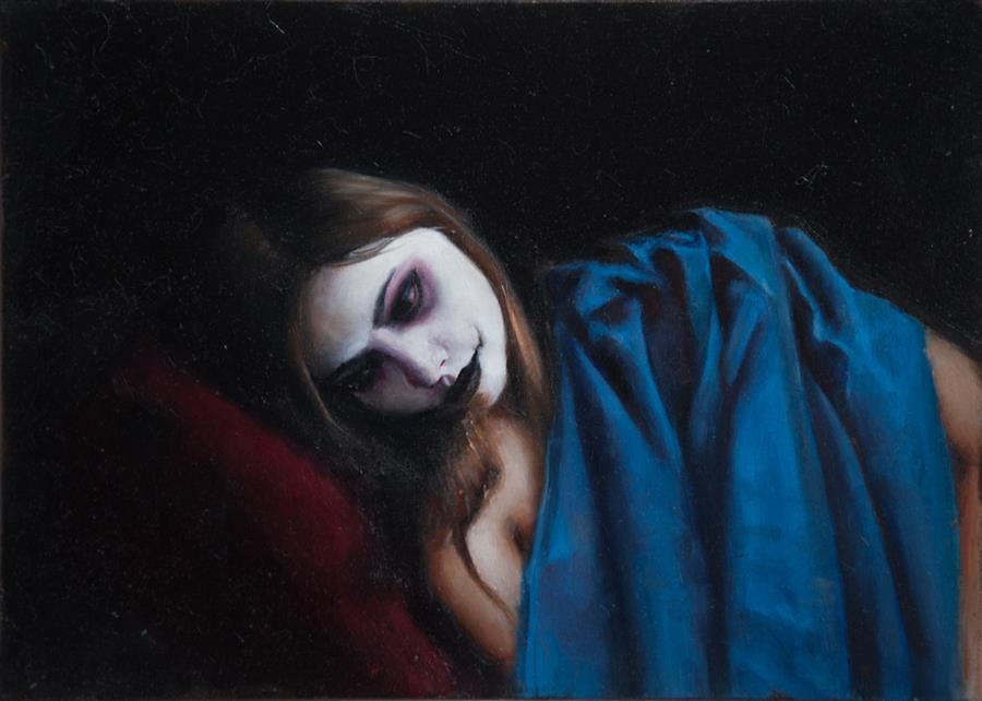 Original art for sale at UGallery.com | Resting Pierrot by John Kelly | $1,700 | oil painting | 13' h x 18' w | ..\art\oil-painting-Resting-Pierrot