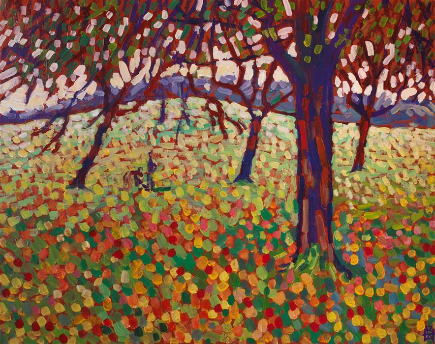 Original art for sale at UGallery.com | Orchard by Robert Hofherr | $875 | acrylic painting | 22' h x 28' w | ..\art\acrylic-painting-Orchard-60383
