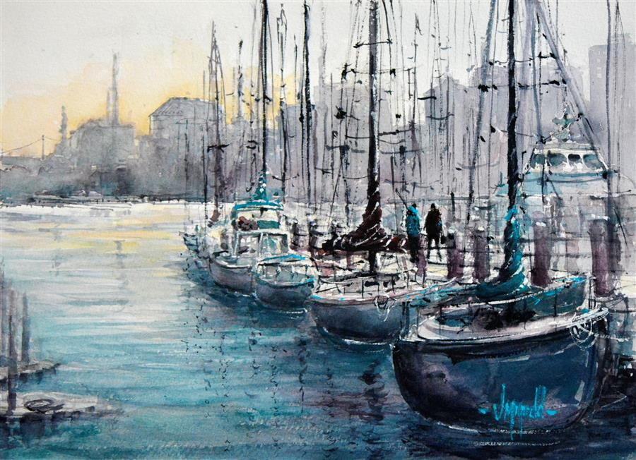 Original art for sale at UGallery.com | Marina Morning by JUDY MUDD | $725 |  | 10' h x 14' w | ..\art\watercolor-painting-Marina-Morning