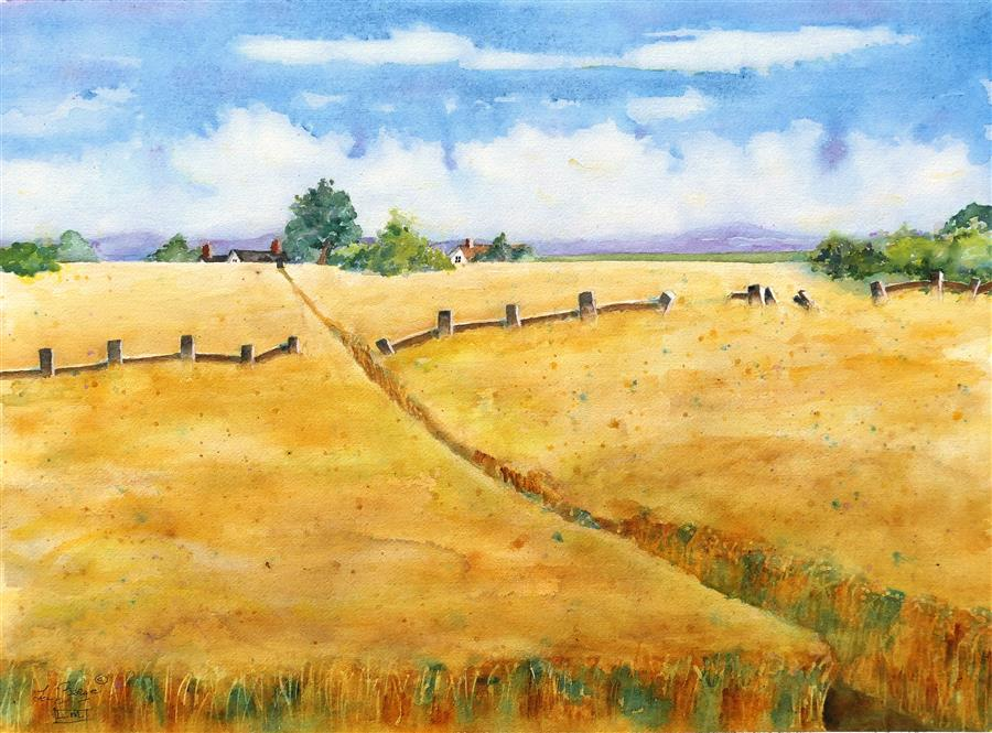 Original art for sale at UGallery.com | Summer Wheat by NANCY MUREN | $725 |  | 18' h x 24' w | ..\art\watercolor-painting-Summer-Wheat