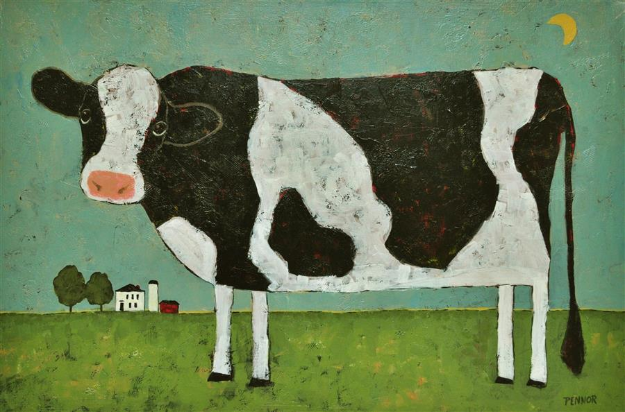 Original art for sale at UGallery.com | Moon Cow by CAROLYN PENNOR | $1,175 |  | 24' h x 36' w | ..\art\acrylic-painting-Moon-Cow