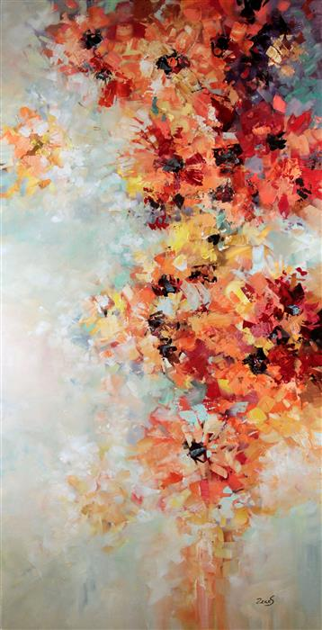 Original art for sale at UGallery.com | I Love Blooms by Sandra Zekk | $1,575 | oil painting | 48' h x 24' w | ..\art\oil-painting-I-Love-Blooms