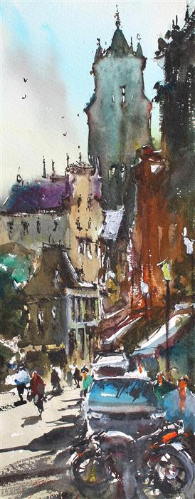 Original art for sale at UGallery.com | Medieval Bruges by MAXIMILIAN DAMICO | $650 |  | 14' h x 5' w | ..\art\watercolor-painting-Medieval-Bruges