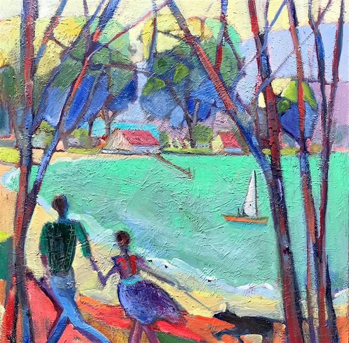 Original art for sale at UGallery.com | Walking at the Marina by James Hartman | $1,950 | oil painting | 30' h x 30' w | ..\art\oil-painting-Walking-at-the-Marina