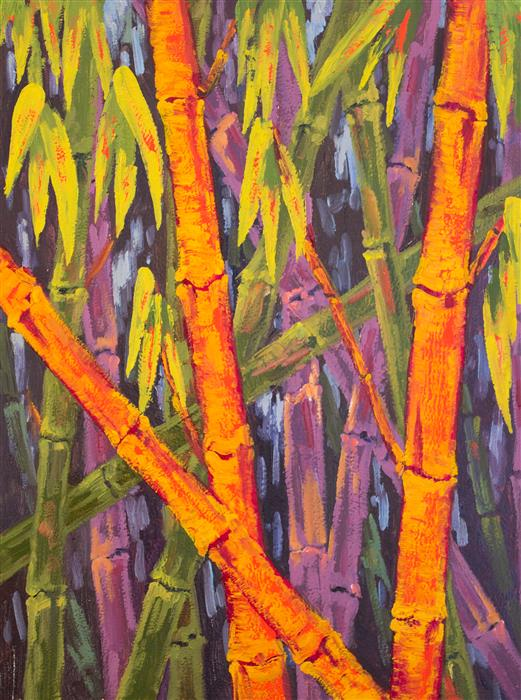 Original art for sale at UGallery.com | Bamboo Thicket R by KAREN E LEWIS | $1,075 |  | 24' h x 18' w | ..\art\oil-painting-Bamboo-Thicket-R