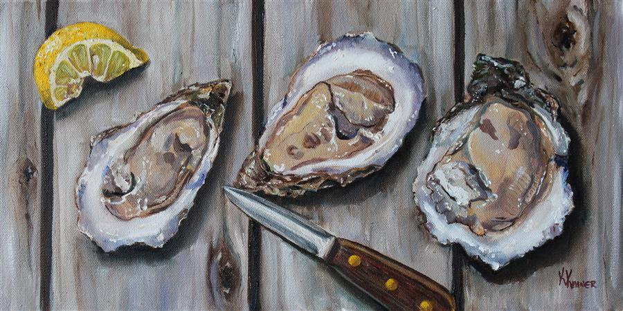 Original art for sale at UGallery.com | Shucked Oysters by KRISTINE KAINER | $1,300 |  | 10' h x 20' w | ..\art\oil-painting-Shucked-Oysters