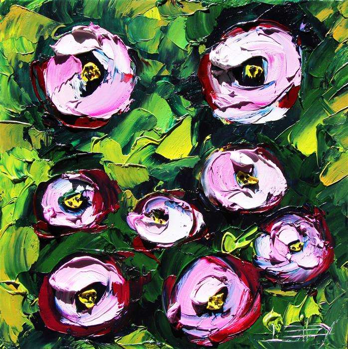 Original art for sale at UGallery.com | Peonies in the Wild by Lisa Elley | $300 | oil painting | 10' h x 10' w | ..\art\oil-painting-Peonies-in-the-Wild