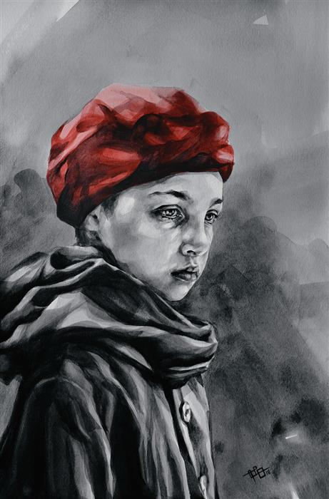 Original art for sale at UGallery.com | Girl in a Red Beret by SUZANNA ORLOVA | $750 |  | 18' h x 12' w | ..\art\watercolor-painting-Girl-in-a-Red-Beret