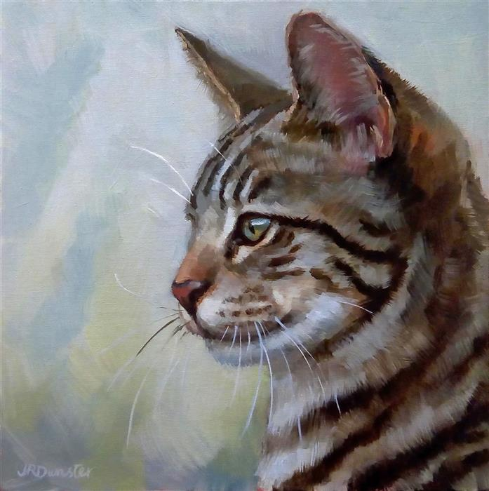 Original art for sale at UGallery.com | Youthful Tabby by J. DUNSTER | $350 |  | 8' h x 8' w | ..\art\oil-painting-Youthful-Tabby