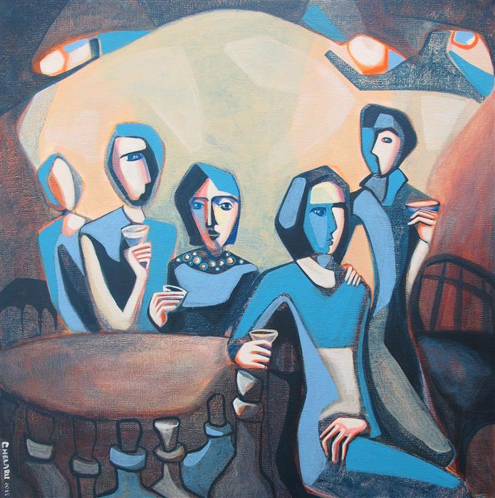 Original art for sale at UGallery.com | Enjoying a Drink by DIANA ELENA CHELARU | $850 |  | 20' h x 20' w | ..\art\acrylic-painting-Enjoying-a-Drink
