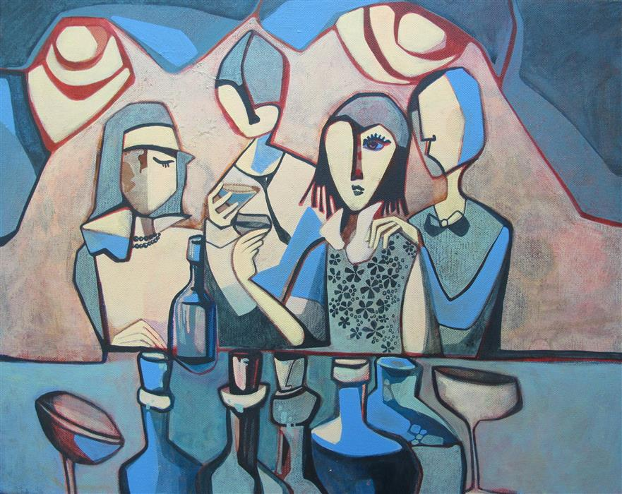 Original art for sale at UGallery.com | Pub Scene by Diana Elena Chelaru | $675 | acrylic painting | 16' h x 20' w | ..\art\acrylic-painting-Pub-Scene