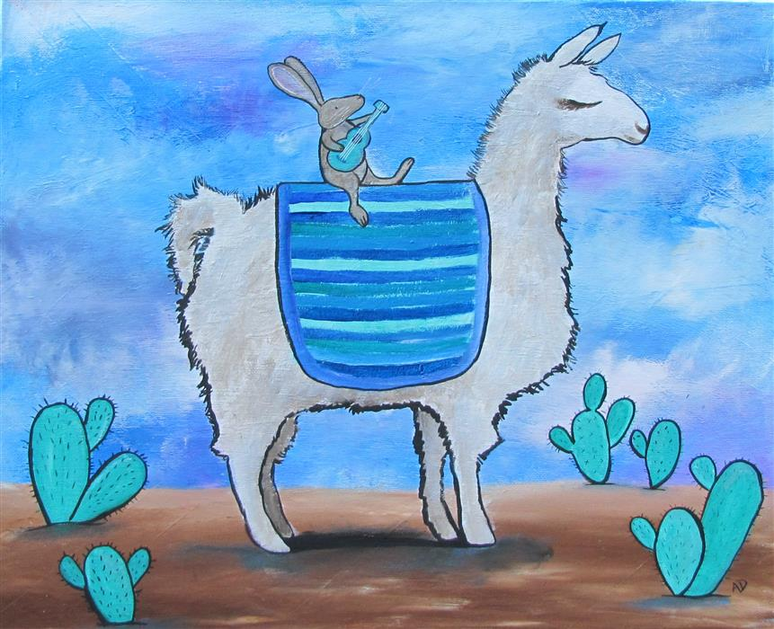 Original art for sale at UGallery.com | No Prob Llama by ANDREA DOSS | $525 |  | 16' h x 20' w | ..\art\acrylic-painting-No-Prob-Llama