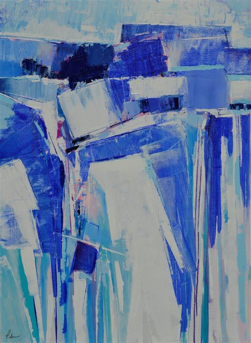 Original art for sale at UGallery.com | Blue Abstract by Patrick O'Boyle | $1,475 | acrylic painting | 40' h x 30' w | ..\art\acrylic-painting-Blue-Abstract