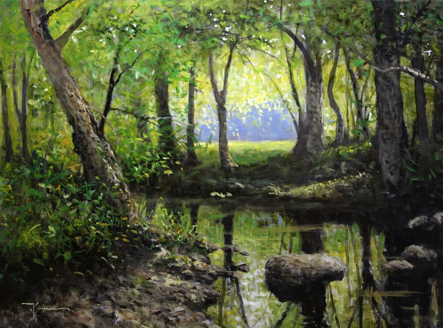Original art for sale at UGallery.com | The Quiet Stream by KENT SULLIVAN | $1,825 |  | 18' h x 24' w | ..\art\oil-painting-The-Quiet-Stream