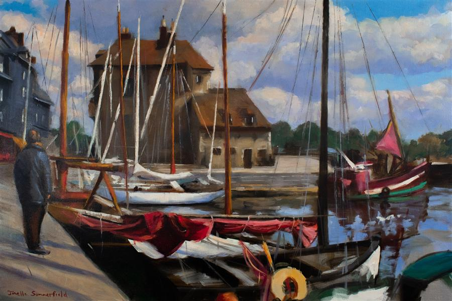 Original art for sale at UGallery.com | Morning in Honfleur by JONELLE SUMMERFIELD | $1,800 |  | 24' h x 36' w | ..\art\oil-painting-Morning-in-Honfleur