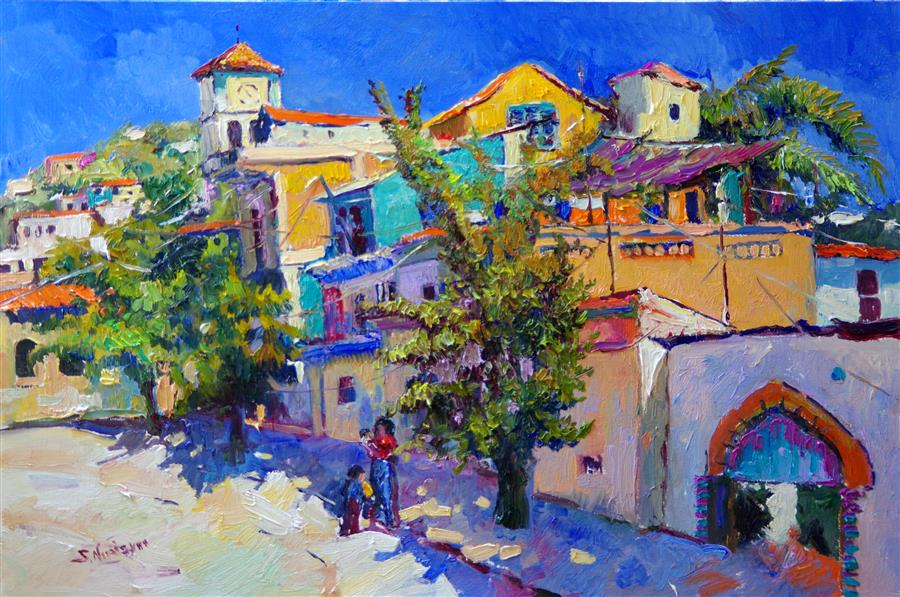 Original art for sale at UGallery.com | Sunny Day, Street in Puerto Vallarta, Mexico by Suren Nersisyan | $1,800 | oil painting | 24' h x 36' w | ..\art\oil-painting-Sunny-Day-Street-in-Puerto-Vallarta-Mexico