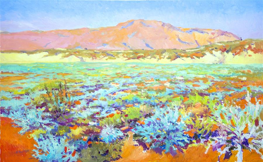 Original art for sale at UGallery.com | Spring in Desert by Suren Nersisyan | $2,525 | oil painting | 30' h x 48' w | ..\art\oil-painting-Spring-in-Desert