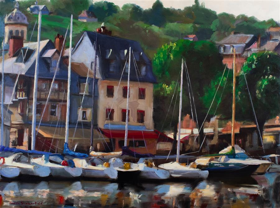 Original art for sale at UGallery.com | Morning in Honfleur III by Jonelle Summerfield | $2,575 | oil painting | 30' h x 40' w | ..\art\oil-painting-Morning-in-Honfleur-III
