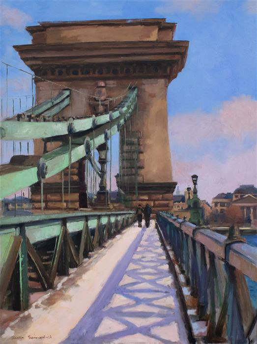 Original art for sale at UGallery.com | Chain Bridge of Budapest by JONELLE SUMMERFIELD | $2,500 |  | 40' h x 30' w | ..\art\oil-painting-Chain-Bridge-of-Budapest