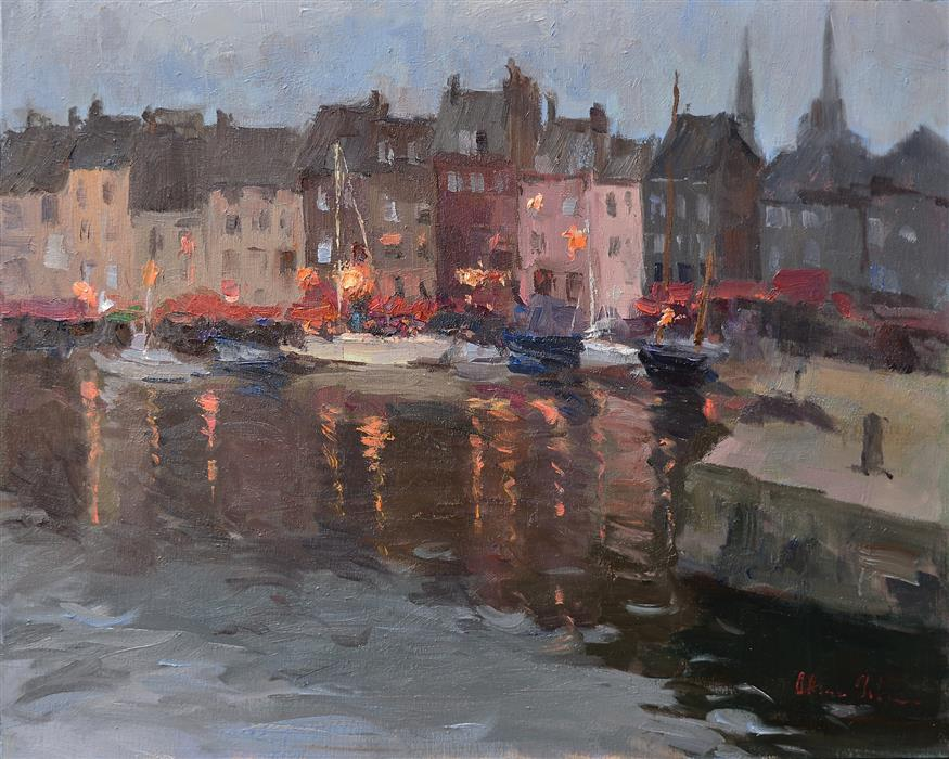 Original art for sale at UGallery.com | Evening in a Harbor by OKSANA JOHNSON | $1,325 |  | 16' h x 20' w | ..\art\oil-painting-Evening-in-a-Harbor
