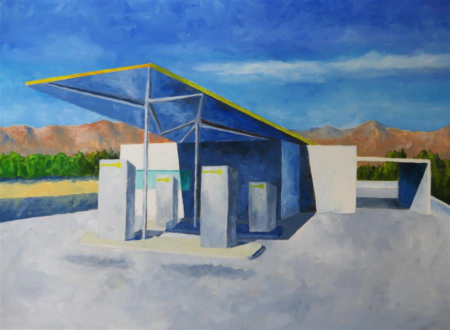 Original art for sale at UGallery.com | William Cody Gas Station #3 by MITCHELL FREIFELD | $1,100 |  | 25' h x 35' w | ..\art\oil-painting-William-Cody-Gas-Station-3
