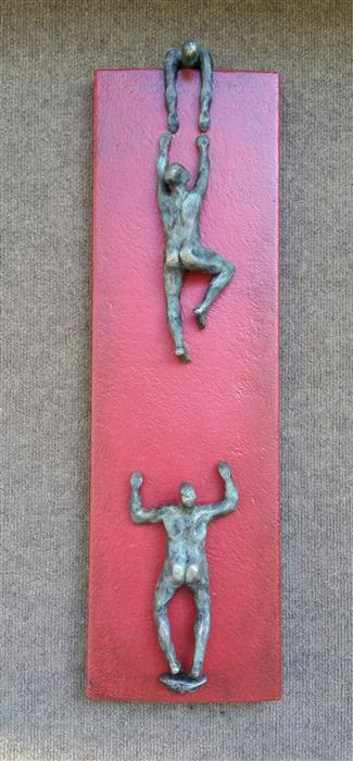Original art for sale at UGallery.com | U-Climbers on Red by YELITZA DIAZ | $850 |  | 26' h x 7.5' w | ..\art\sculpture-U-Climbers-on-Red