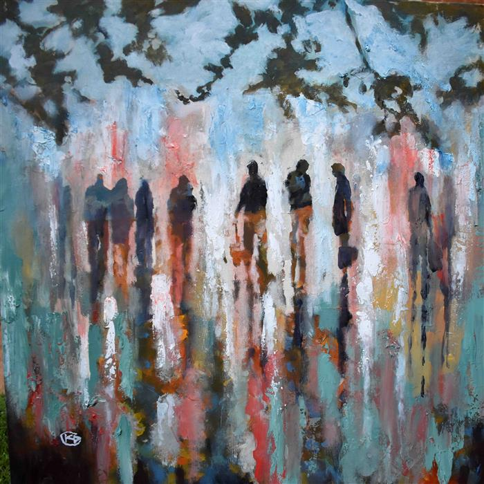 Original art for sale at UGallery.com | Meeting Is Over by KIP DECKER | $1,800 |  | 30' h x 30' w | ..\art\acrylic-painting-Meeting-Is-Over