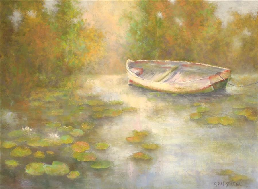 Original art for sale at UGallery.com | A Peaceful Moment by GAIL GREENE | $475 |  | 12' h x 16' w | ..\art\oil-painting-A-Peaceful-Moment