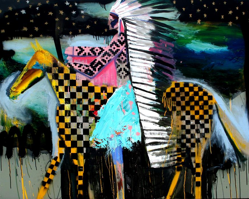 Original art for sale at UGallery.com | A Patterned Chief on Patterned Horse 2 by Scott Dykema | $6,950 | mixed media artwork | 48' h x 60' w | ..\art\mixed-media-artwork-A-Patterned-Chief-on-Patterned-Horse-2