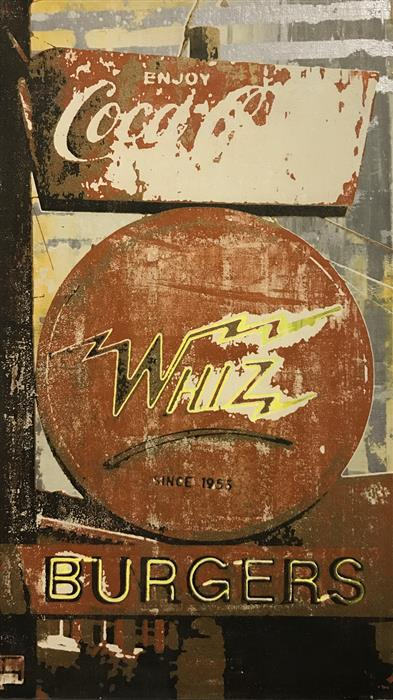 Original art for sale at UGallery.com | Whiz Burger by MAURA ALLEN | $1,025 |  | 14' h x 8' w | ..\art\acrylic-painting-Whiz-Burger