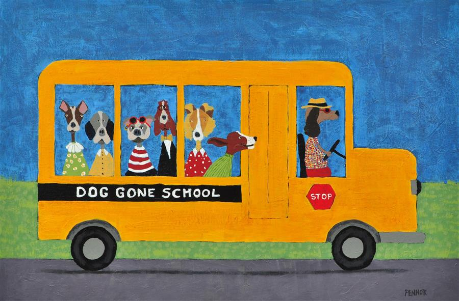 Original art for sale at UGallery.com | School Bus by CAROLYN PENNOR | $1,075 |  | 24' h x 36' w | ..\art\acrylic-painting-School-Bus
