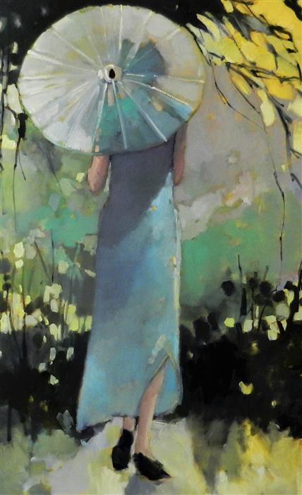 Original art for sale at UGallery.com | White Parasol by MARY PRATT | $2,700 |  | 48' h x 30' w | ..\art\oil-painting-White-Parasol