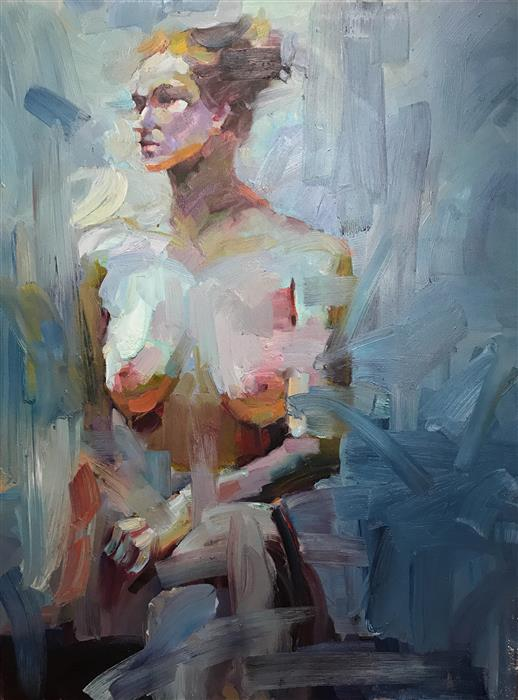 Original art for sale at UGallery.com | Figure of the Beauty by BRIAN ZHENG | $4,925 |  | 48' h x 36' w | ..\art\oil-painting-Figure-of-the-Beauty