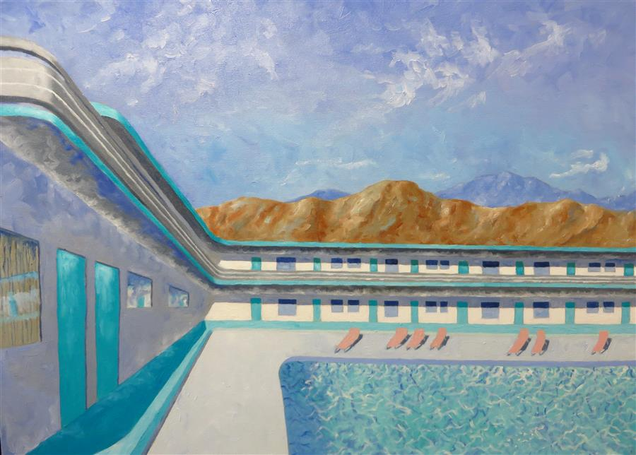Original art for sale at UGallery.com | The Big Pool by Mitchell Freifeld | $500 | oil painting | 25' h x 35' w | ..\art\oil-painting-The-Big-Pool