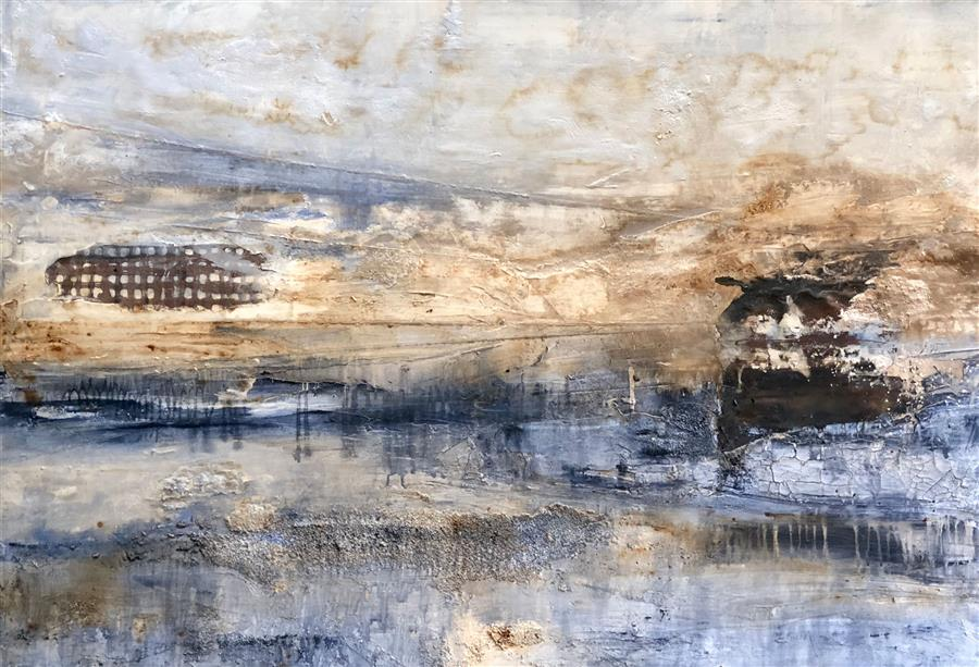 Original art for sale at UGallery.com | Beyond The Mist by MAYA MALIOUTINA | $5,450 |  | 41' h x 60' w | ..\art\mixed-media-artwork-Beyond-The-Mist