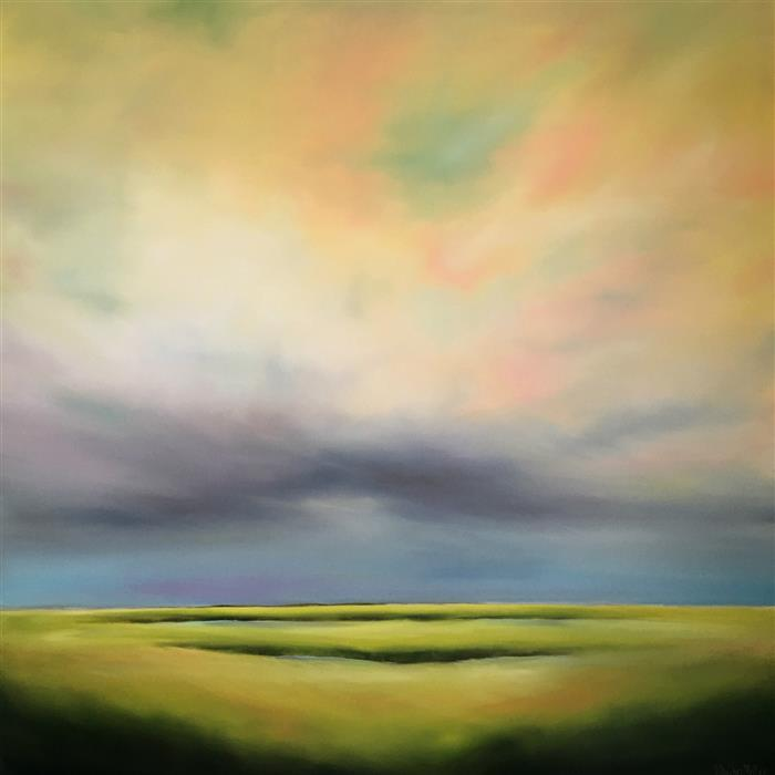 Original art for sale at UGallery.com | Skylight Marsh by NANCY HUGHES MILLER | $2,200 |  | 40' h x 40' w | ..\art\oil-painting-Skylight-Marsh