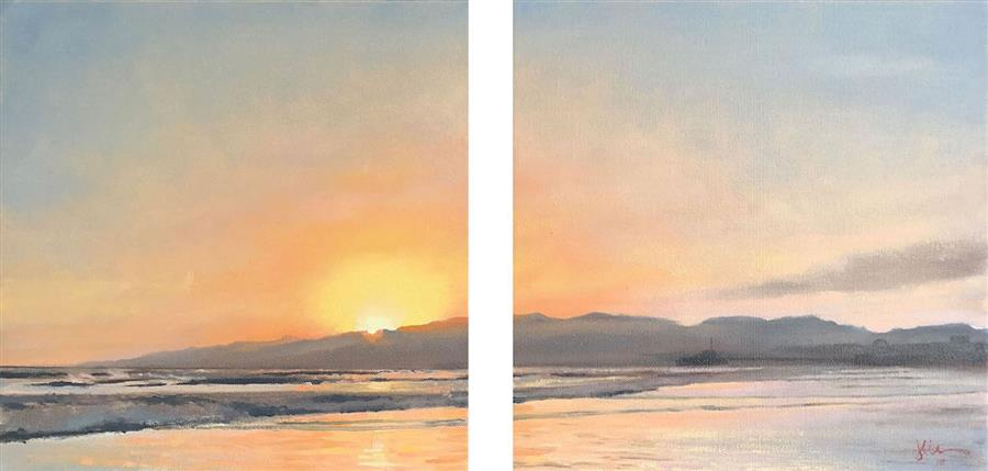 Original art for sale at UGallery.com | Santa Monica Mountains by JESSE ALDANA | $725 |  | 12' h x 24' w | ..\art\oil-painting-Santa-Monica-Mountains