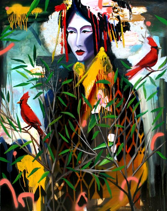 Original art for sale at UGallery.com | In The Woods With Some Red Friends by Scott Dykema | $6,950 | mixed media artwork | 60' h x 48' w | ..\art\mixed-media-artwork-In-The-Woods-With-Some-Red-Friends