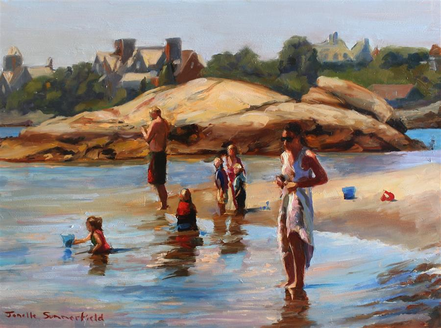 Original art for sale at UGallery.com | Gooseberry Beach of Newport by JONELLE SUMMERFIELD | $575 |  | 12' h x 16' w | ..\art\oil-painting-Gooseberry-Beach-of-Newport